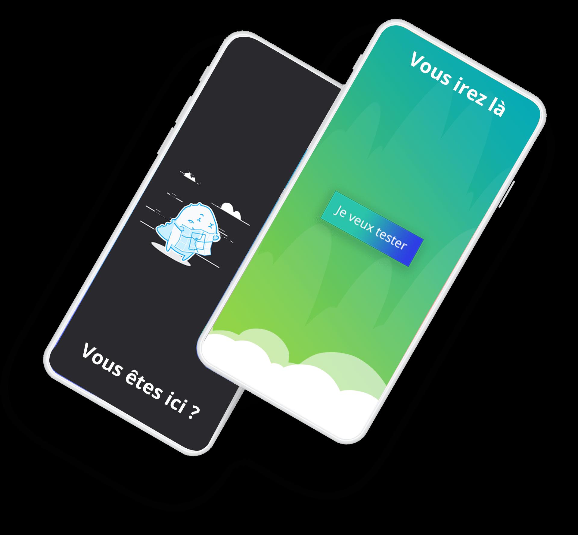 représentation de 2 téléphones mobiles, un avec une page 404 l'autre avec avec une page fonctionnelle