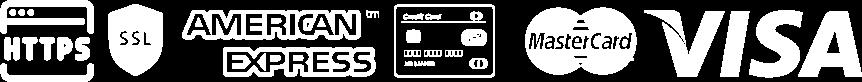 logo d'icônes SSL, HTTPS, American express, CB, VISA, Mastercard