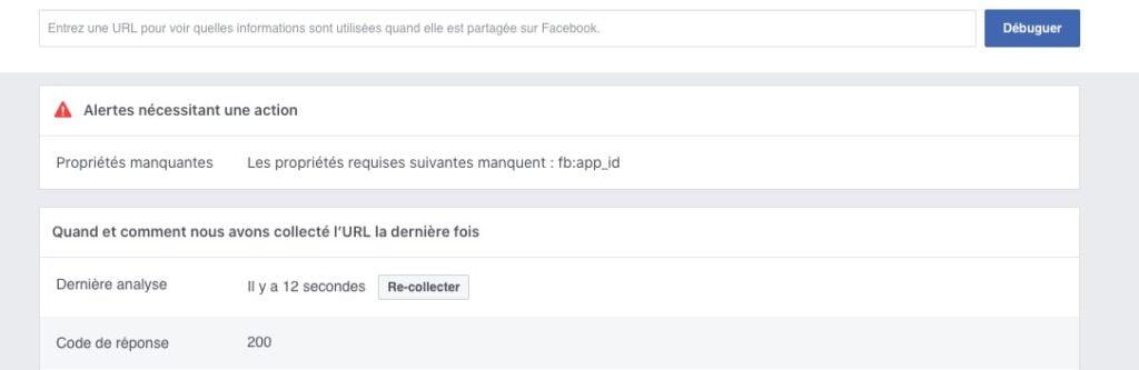 Page de debug Facebook pour re-collecter les données sur votre site